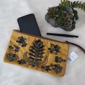 NEW Ann Taylor LOFT Floral Beaded Clutch Wristlet